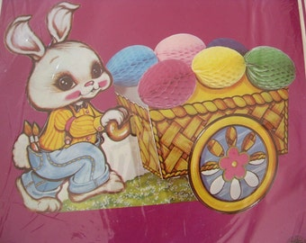 "Vintage Beistle Easter Bunny & Cart Centerpiece In Original Package, 12"" Long, 1980"