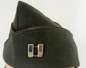 Vintage US Army hat Garrison cap Military dark green Size 7 1/8 Korean War with Gemsco Silverplate Military pin
