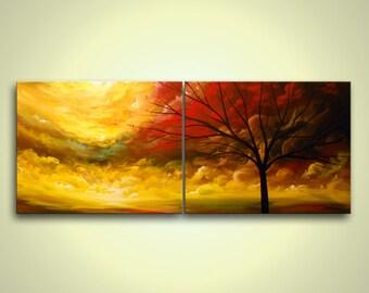 "art painting acrylic large art painting abstract wall art canvas large original painting 56"" tree painting wall hanging surreal Mattsart"