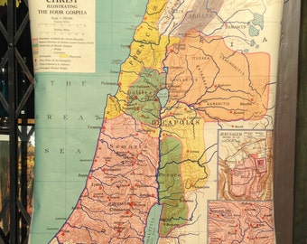Sunday Bible School Map of Palestine in the Time of Christ