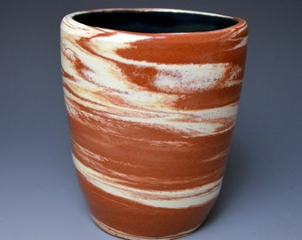 Pottery Tumbler / Marbled / Black Lustre