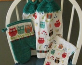 2 Crocheted Hanging Kitchen Towels with Oven Mitt and Dishcloth - Cute Owls