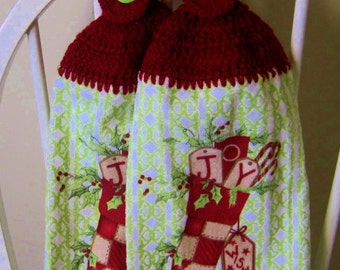 2 Crocheted Christmas Hanging Kitchen Towels - Quaint Stocking