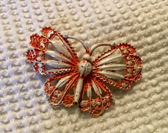 Vintage butterfly bug enamel brooch pin orange/cream/ivory jewelry