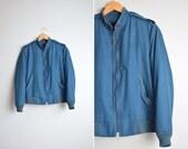 London Fog navy blue bomber / classic zip-front jacket / vintage men's '80s. size 38 or M.