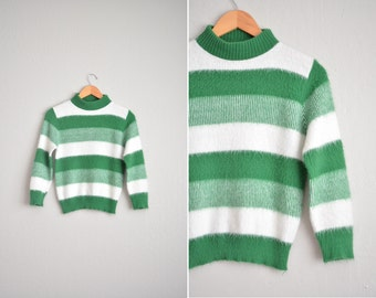 vintage '60s kelly green & white FUZZY STRIPED SWEATER. size xs s.
