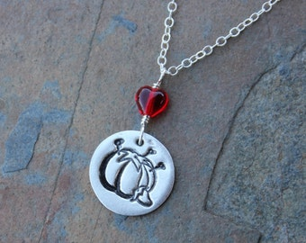 Seamstress Pincushion necklace - Love to Sew-  handmade fine silver disc charm and red heart on a sterling silver chain - free shipping USA