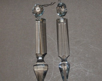 Antique Lot of 2 Glass Spear Prisms for Crafting Chandeliers and Lamps