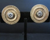 Totally Mod Gold Burnished Rhinestone  Button Clip-On Earrings Vintage 80's Jim Love Fran 14 K
