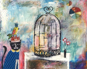 Cat and Canary || mixed media, folkloric, whimsical, CANVAS print