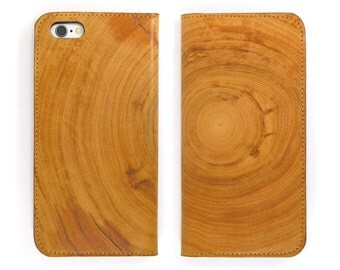 Leather iPhone 6 case, iPhone 6s Case, iPhone 6s Plus Case - Wood Grain