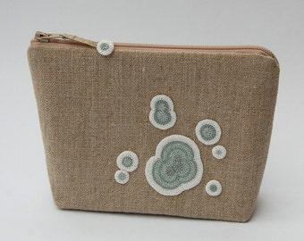 Mouldy pouch, crochet mould, zipper purse, linen purse, mould, ELIN, bacteria, science accessory, unusual gift, science gift, unusual purse