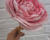 """Giant oversized 9.5"""" recycled fabric pale pink single realistic rose wedding bouquet flower with stem"""