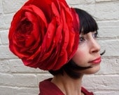 Giant recycled vintage red satin rose flower headpiece winter wedding valentines day CUSTOM ORDER