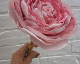 "Giant oversized 9.5"" recycled fabric pale pink single realistic rose wedding bouquet flower with stem"