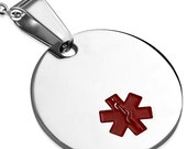 2 Medical Alert Tags ID Tag Blank Red Enameled Circle Charm - Engrave, Engraveable  2.40 cm (0.94 inch) - 316L Surgical Steel