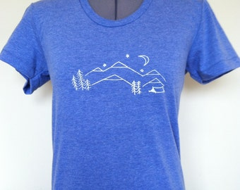 Camping T Shirt Womens Slim Fit Sizes Small through XLarge Athletic Blue