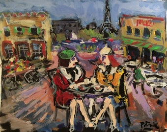 Paris France Painting, Sidewalk cafe with Eiffel Tower and restaurants, original impressionist art