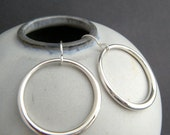 sterling silver hoop earrings organic simple round circle drop modern dangle. classic contemporary jewelry. minimalist gift for women 1 1/8""