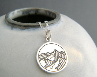 mountain peaks necklace. sterling silver small mt range earth element pendant four 4 elemental charm pendant zen yoga jewelry dainty 5/8""