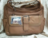 Brown Leather Purse with Vintage White Horse and Swriling Crystals