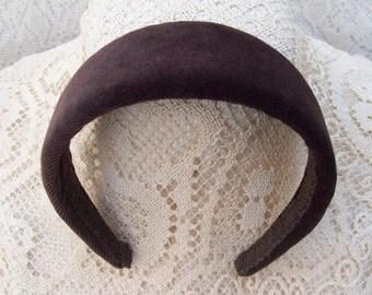 brown velvet headband wide