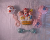 Reserved for Patti Vintage Lot of 4 Plastic Baby Rattles