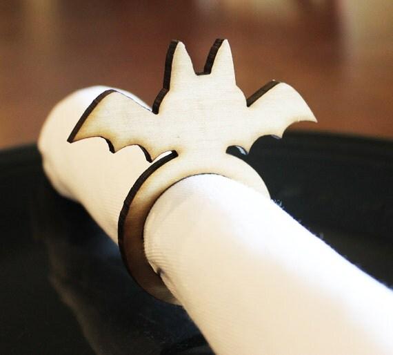 Bat Wood Napkin Rings Halloween Halloween Wedding Laser Cut