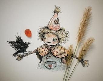 Scarecrow Drawlloween original art