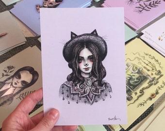 Black Cat Drawlloween print