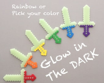 Minecraft Inspired Swords - Boy Birthday Party Favors - Glow in the dark - Set of 6 - 8 bit Swords