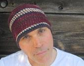 men's hemp beanie/ burgundy wine crochet