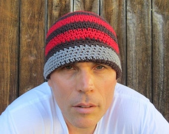 men's cotton beanie/ rich red espresso stripe crochet
