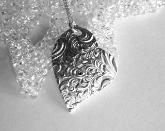 Large Fine Silver Asymmetrical Plume Heart Pendant