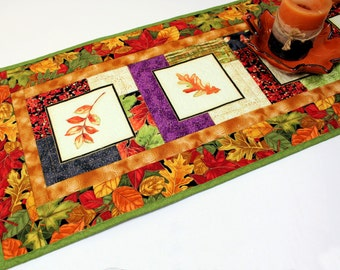 Autumn Leaves Quilted Table Runner, Orange, Green and Rust Table Runner Quilt, Fall Quilt, Quiltsy Handmade