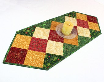 Quilted Christmas Table Runner, Holiday Runner, Golden Charms in Red, Gold, Ivory, Green,