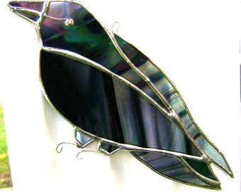 Crow Raven Stained Glass Birds Suncatchers Christmas Gothic Yule Halloween Pagan Wicca Handmade in Canada Original Design©