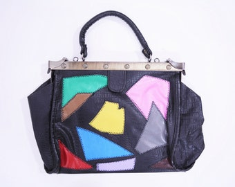 1970s purse | black colorful multicolor patchwork top handle satchel | vintage 70s bag