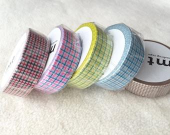 mt Washi Masking Tape - Grids - Set of 5 - Red x Black / Shocking Pink x Shocking Blue / Lemon x Grass / Aqua Grey x Cyan / Milk Mocha