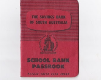 Australian Bank Ephemera Vintage The Savings Bank of South Australia School Passbook Deposit Book 1960s