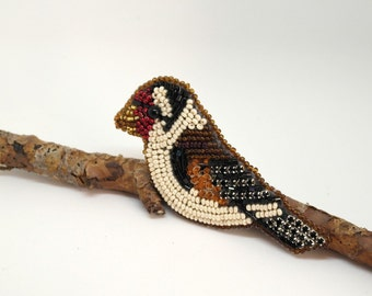Beaded Goldfinch Brooch, Bird Brooch, Beadwork, handmade, OOAK