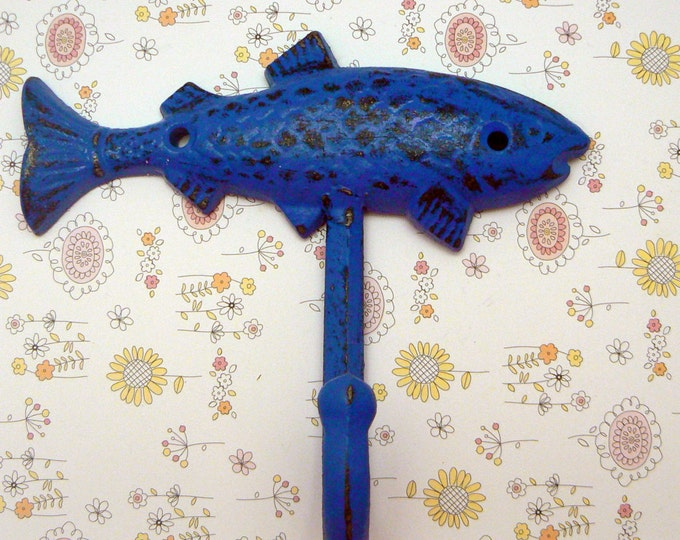 Fish Cast Iron Wall Hook Royal Blue Shabby Chic Cottage Chic Nautical Beach Home Decor