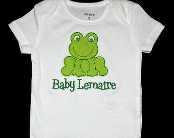 Custom Personalized Applique FROG and NAME Bodysuit or Shirt - Lime Green and Kelly Green