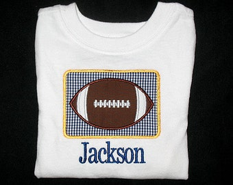 Custom Personalized Applique Gingham FOOTBALL PATCH and NAME Bodysuit or Shirt - Navy Blue and Yellow Gold Team Colors