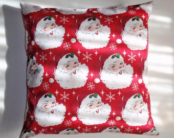 """CHRISTMAS Throw Pillow Cover, Santa Pillow, Christmas Decoration, Holiday Accent Pillow, Jolly Santa Clause Pillow Cover, 16x16"""" Square"""