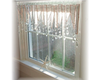 April Showers   Stained Glass Window Treatment  Kitchen Valance Curtain