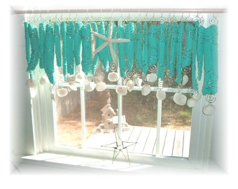 Nod To Turquoise  Turquoise Blue NUMBER TWO  Driftwood Beachy Keen   Window Treament  Valance Curtain Bathroom Kitchen Dining room