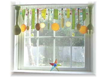 FREE SHIPPING!  Savings of Twenty Dollars Shipping Costs! Happy Kitchen Number TWO Whimsical Kitschy Citrus Theme Stained Glass Window