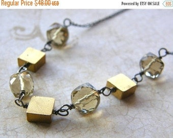 Summer Sale Topaz Cube Necklace, Vintage Brass Squares Necklace, Mixed Metals Necklace