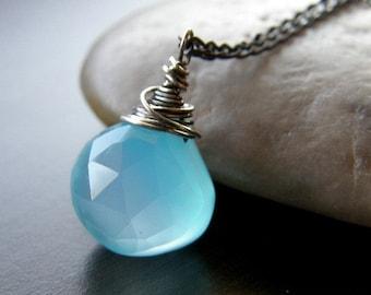 Summer Sale Aqua Blue Chalcedony Necklace, Petite Modern Necklace, Stone Teardrop Necklace